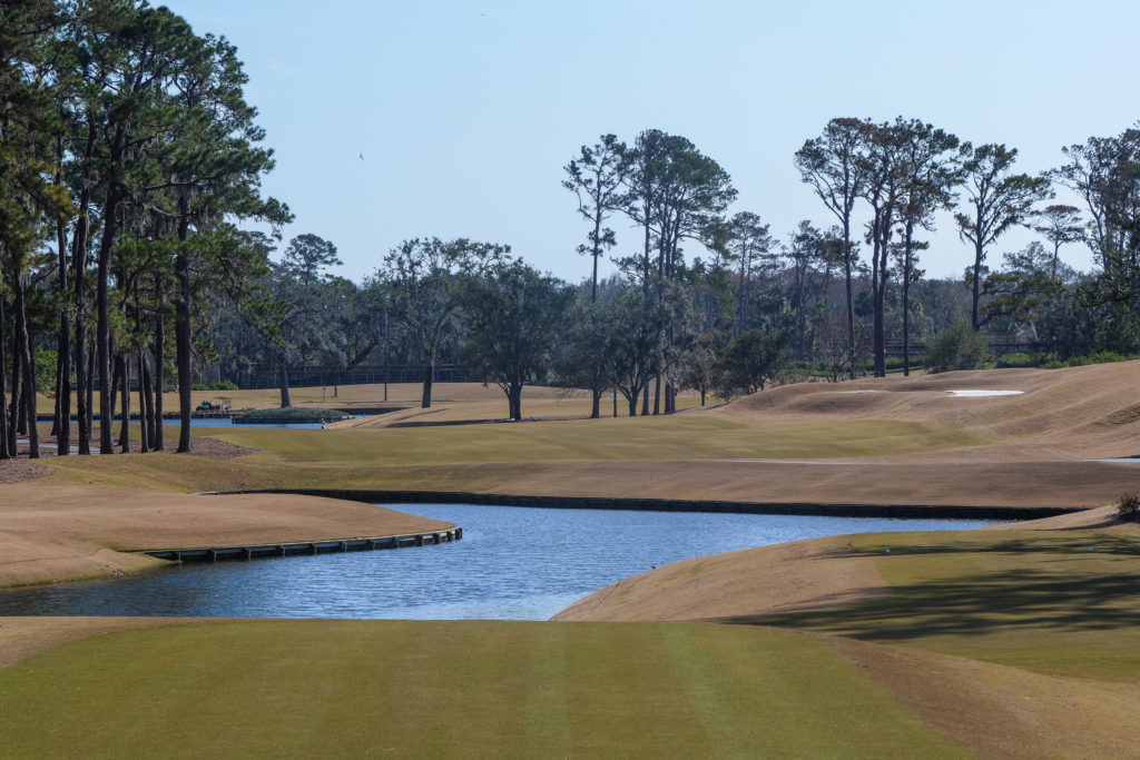 The look from the tee on the par 5, 16th at TPC Sawgrass.