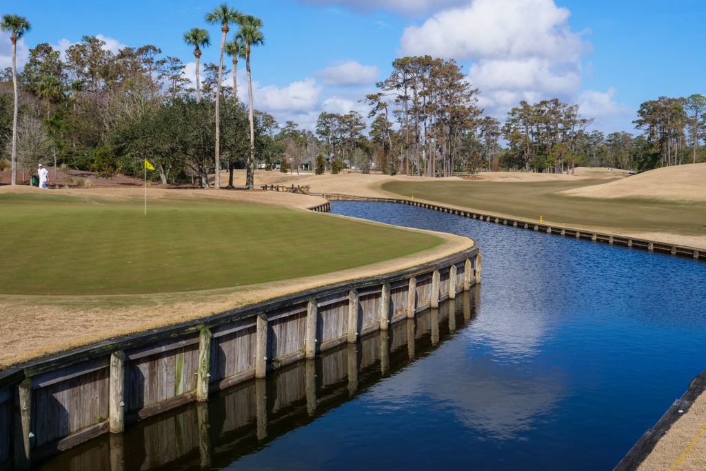 Looking back at the approach on the 4th hole at TPC Sawgrass.