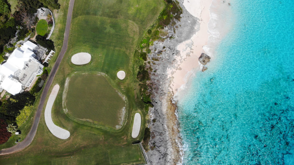 An aerial shot of the 3rd green at the Mid Ocean Club
