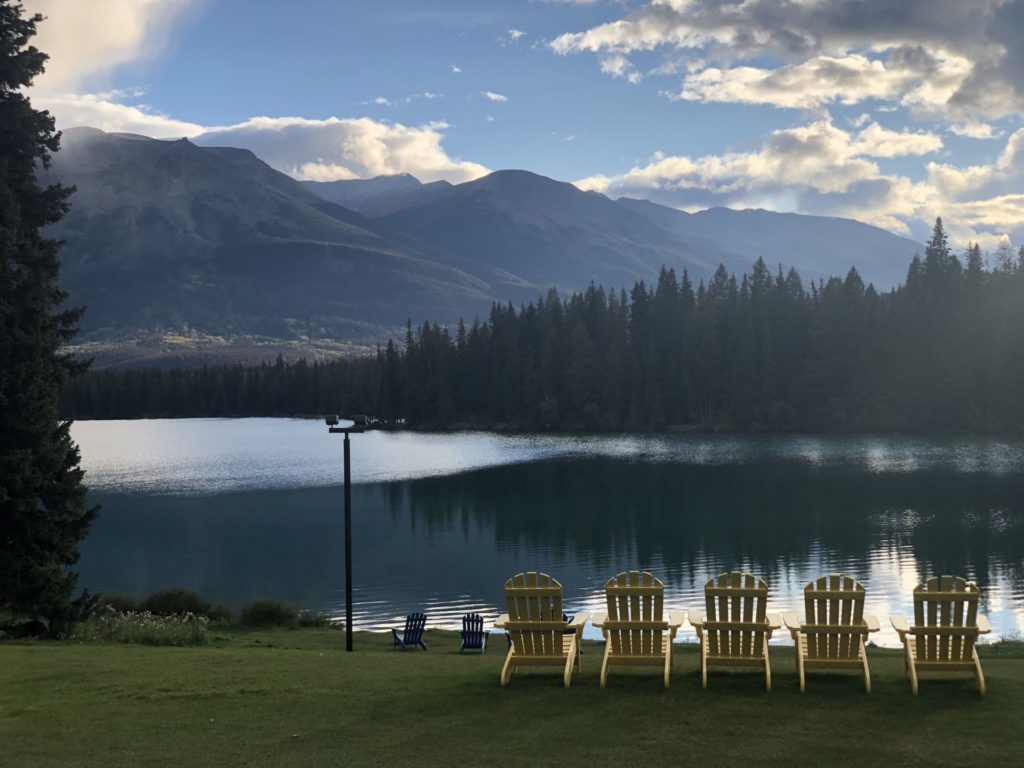 The view at the Fairmont Jasper Lodge.